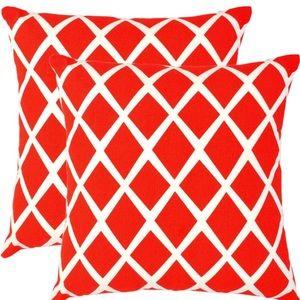 Set of 2 Red Diamond Trellis Throw Pillow Covers